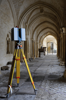 Terrestrial laser scanner during measurement, Spatial Humanities